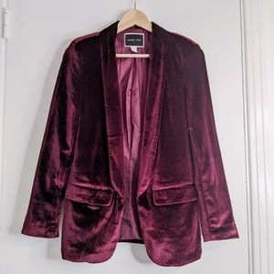Another Story burgundy purple velvet blazer